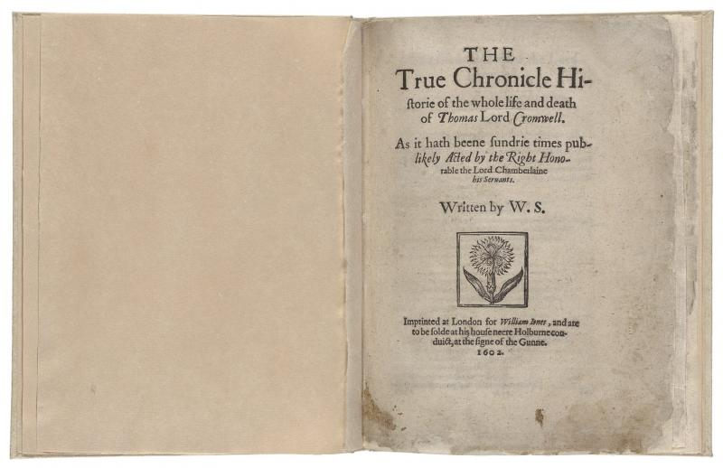 Thomas Lord Cromwell First Edition Shakespeare Documented