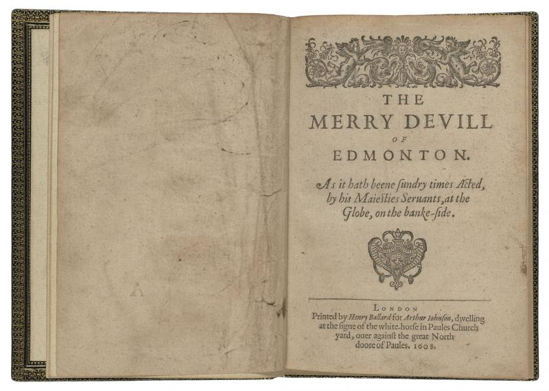 The Merry Devil Of Edmonton First Edition Shakespeare Documented