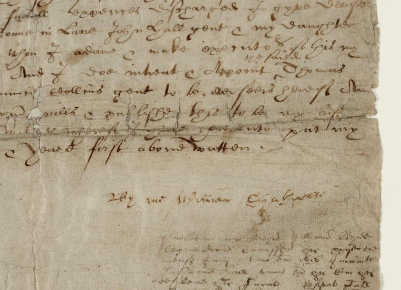 William Shakespeare's last will and testament, leaf 3 signature detail